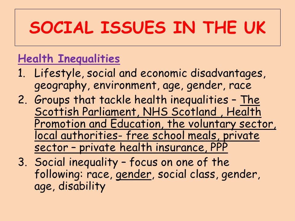 SOCIAL ISSUES IN THE UK Health Inequalities