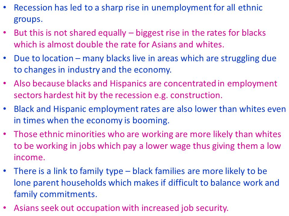 Recession has led to a sharp rise in unemployment for all ethnic groups.