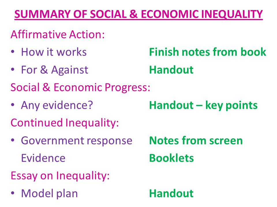 SUMMARY OF SOCIAL & ECONOMIC INEQUALITY