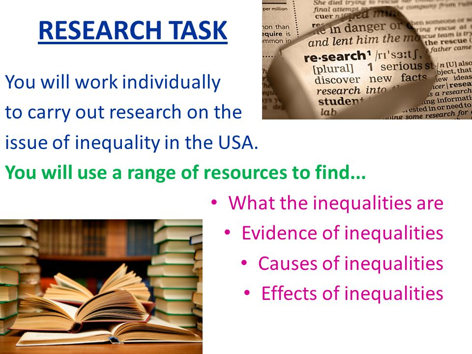 RESEARCH TASK You will work individually to carry out research on the
