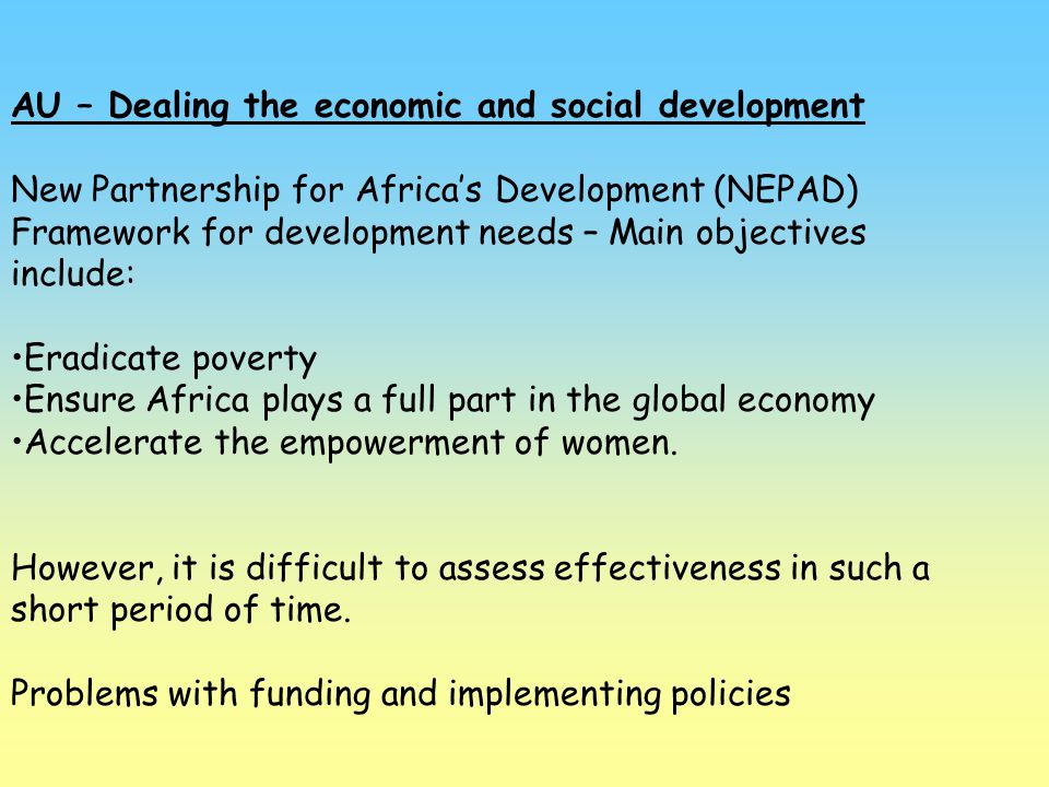 AU – Dealing the economic and social development