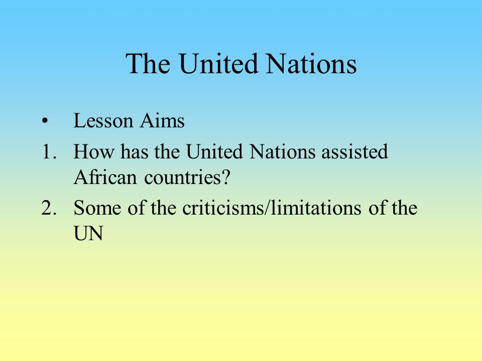 The United Nations Lesson Aims
