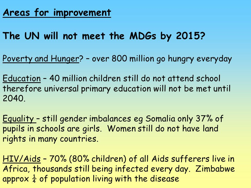 The UN will not meet the MDGs by 2015