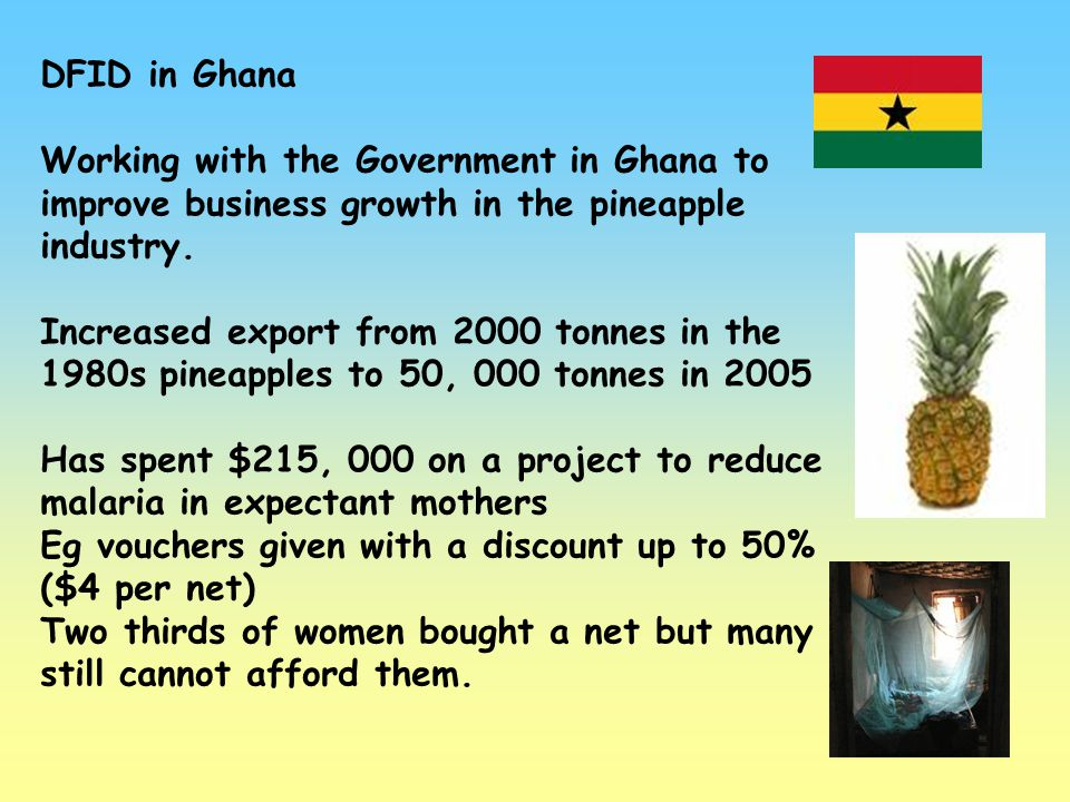 DFID in Ghana Working with the Government in Ghana to improve business growth in the pineapple industry.