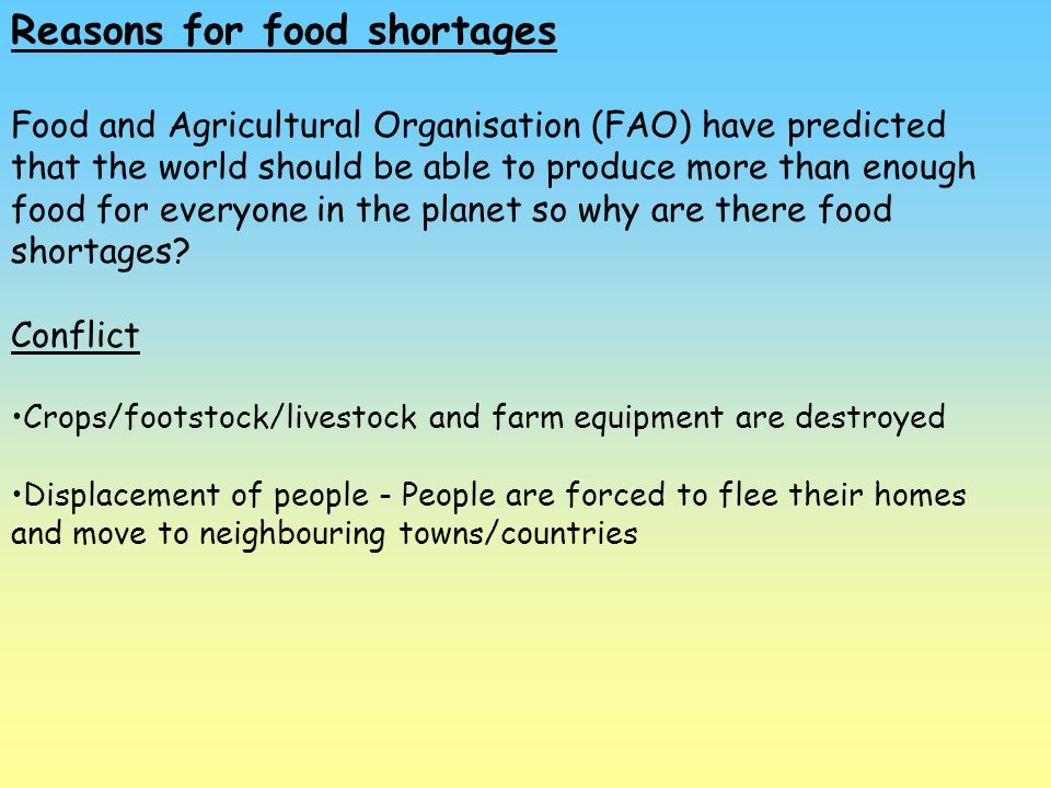Reasons for food shortages