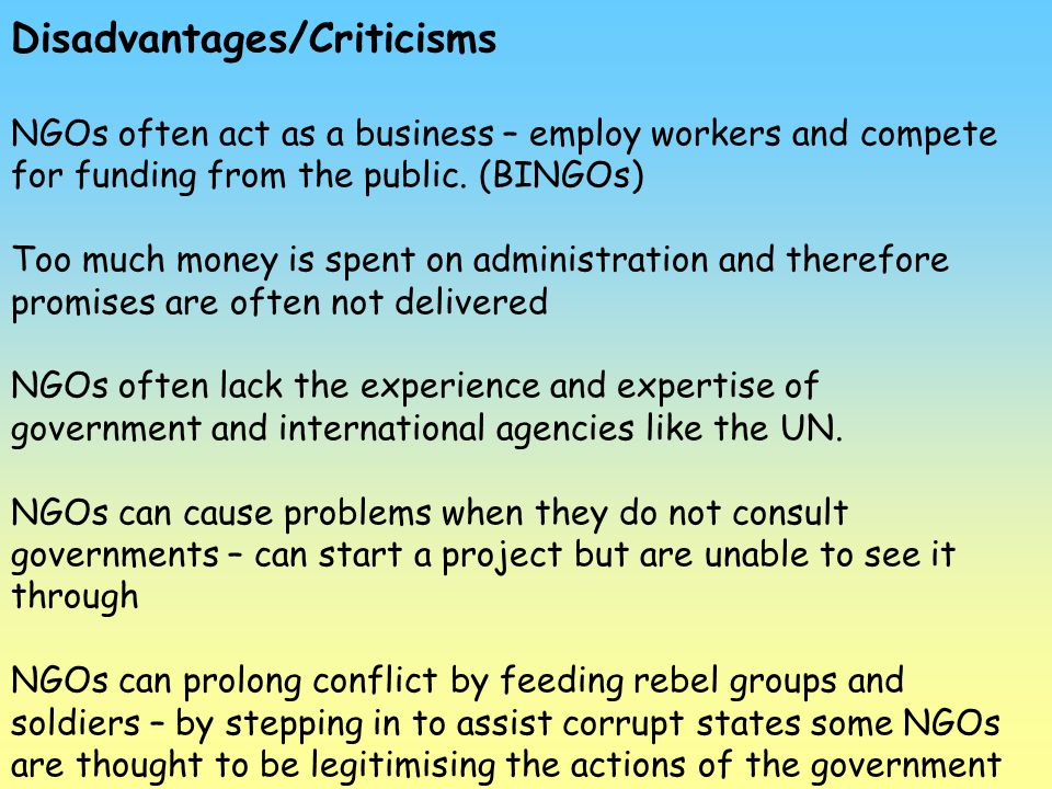 Disadvantages/Criticisms