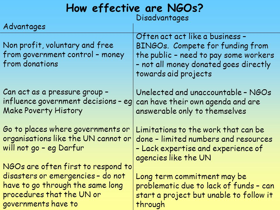 How effective are NGOs Disadvantages Advantages