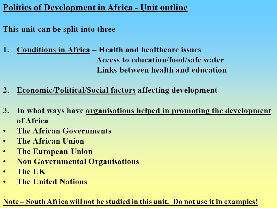 Politics of Development in Africa - Unit outline