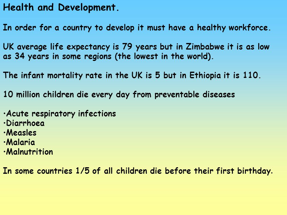 Health and Development.