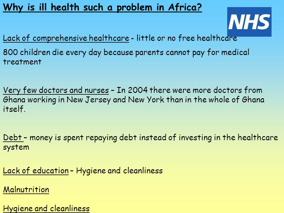 Why is ill health such a problem in Africa