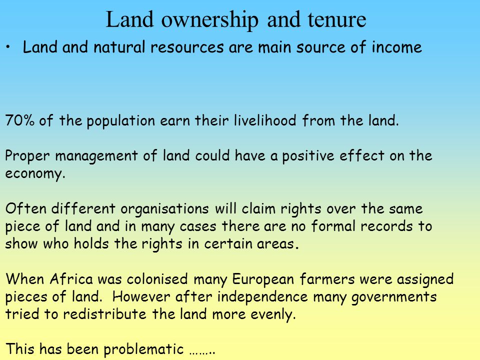 Land ownership and tenure