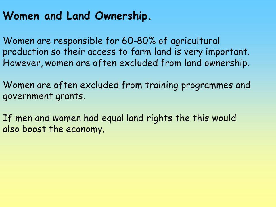 Women and Land Ownership.