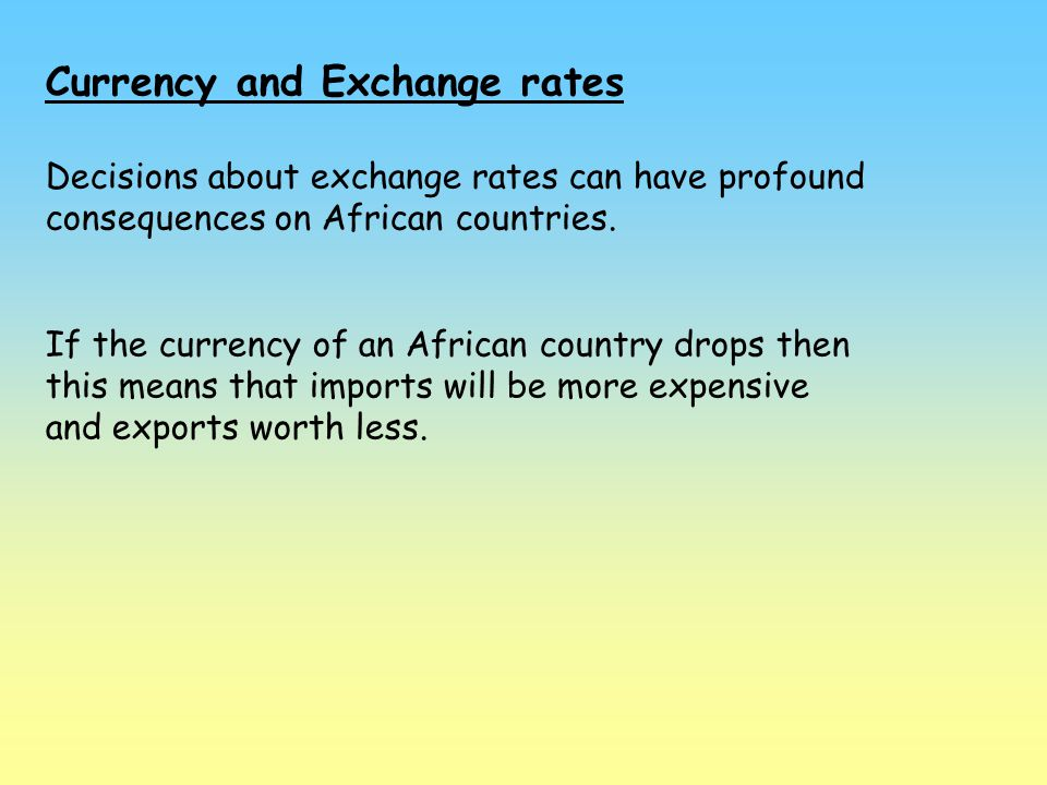 Currency and Exchange rates