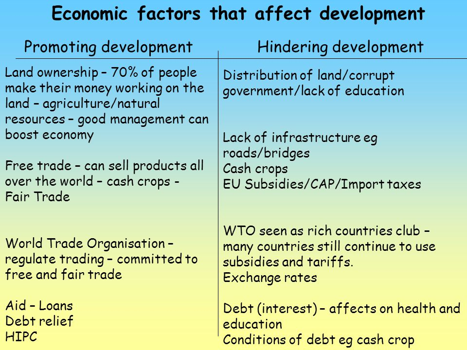 Economic factors that affect development