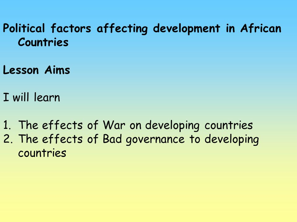 Political factors affecting development in African Countries