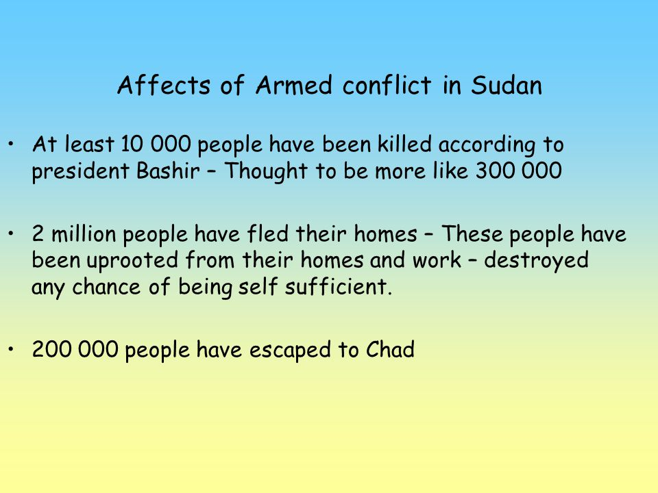 Affects of Armed conflict in Sudan