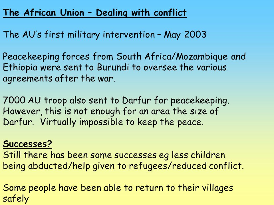 The African Union – Dealing with conflict