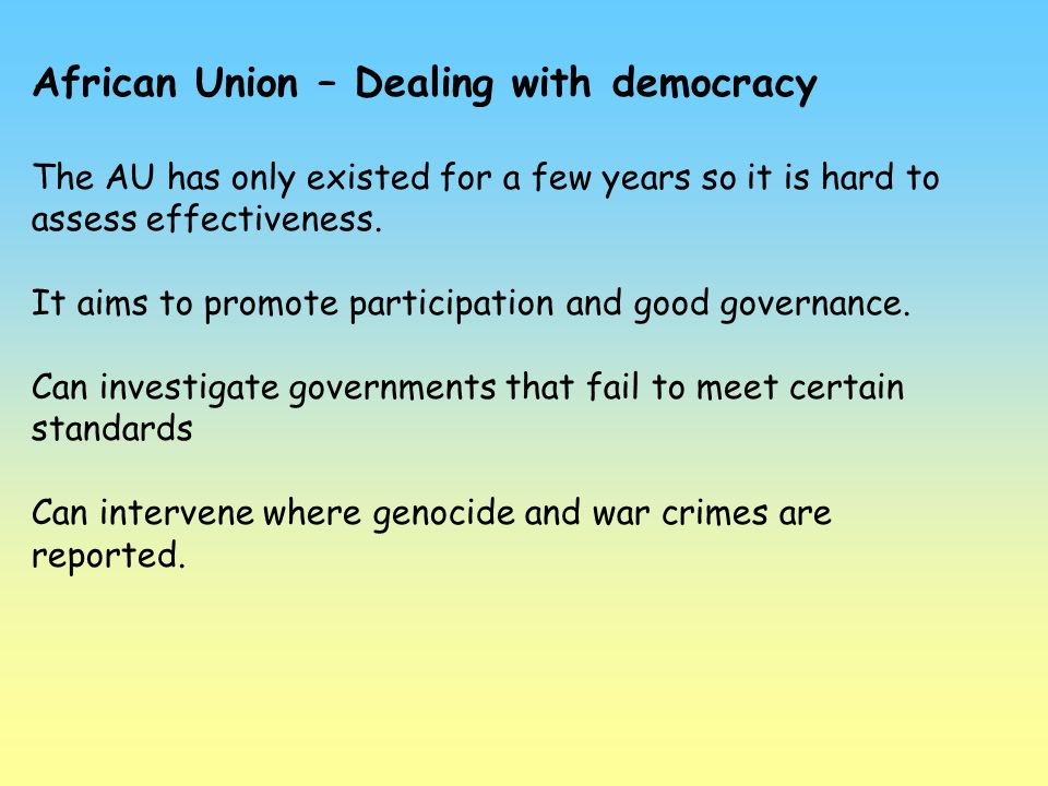 African Union – Dealing with democracy