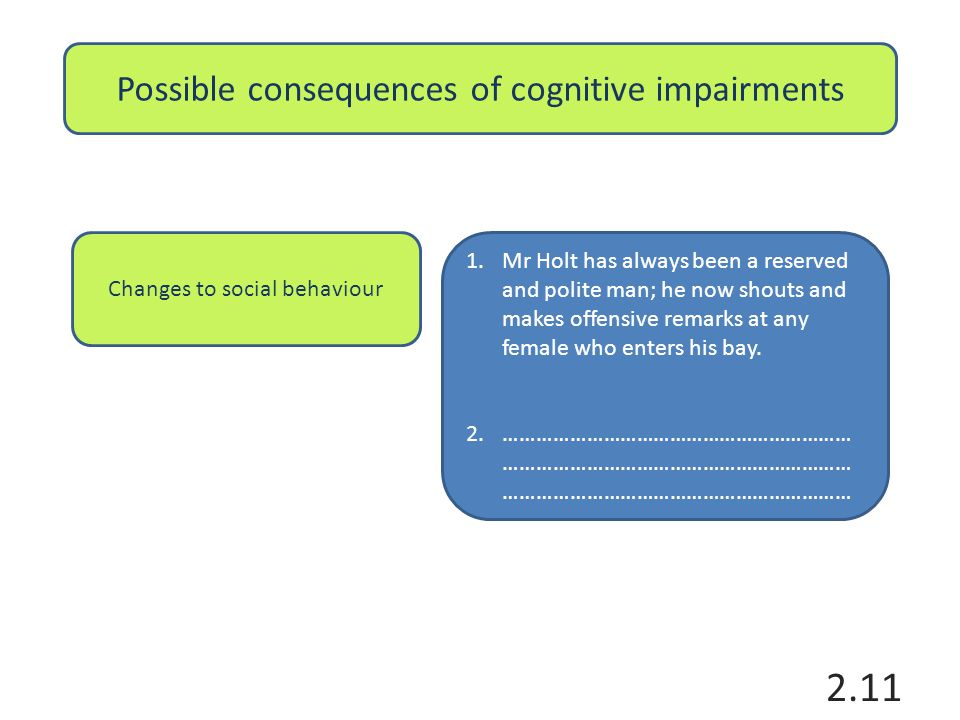 Possible consequences of cognitive impairments