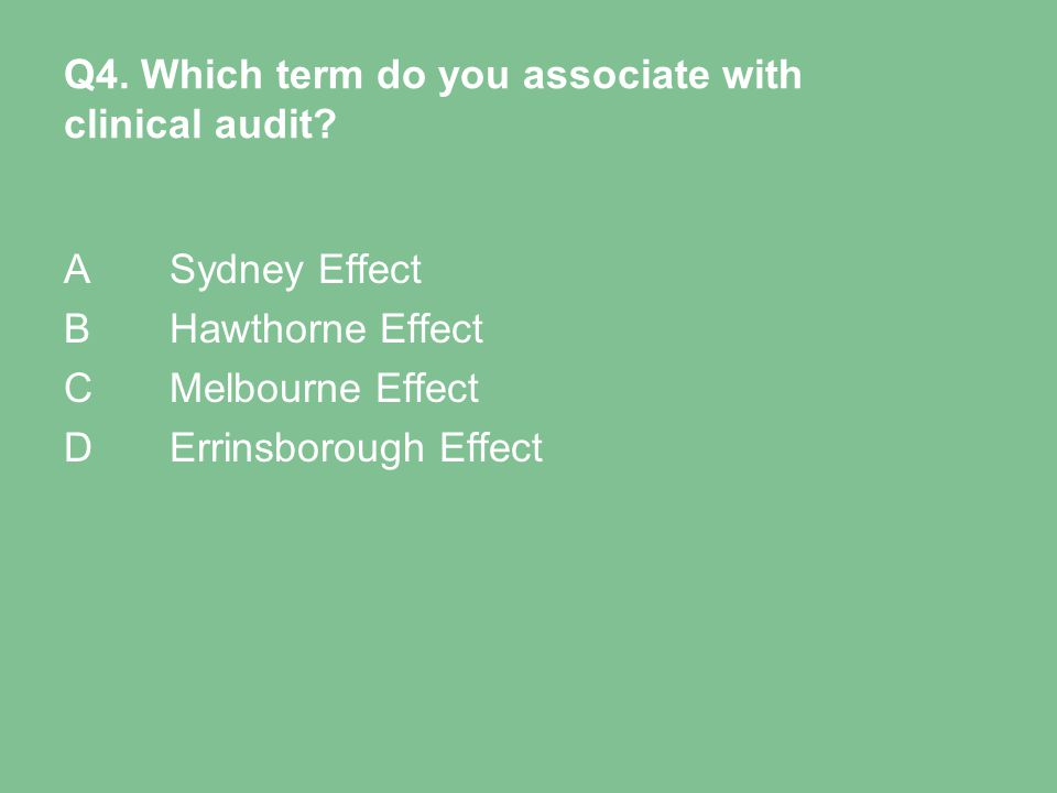 Q4. Which term do you associate with clinical audit