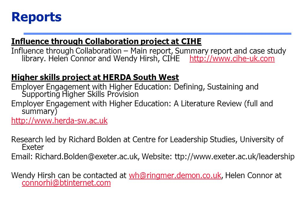 Reports Influence through Collaboration project at CIHE