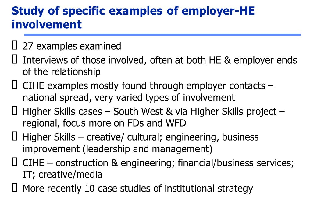 Study of specific examples of employer-HE involvement