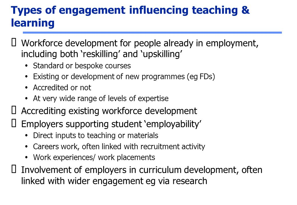 Types of engagement influencing teaching & learning