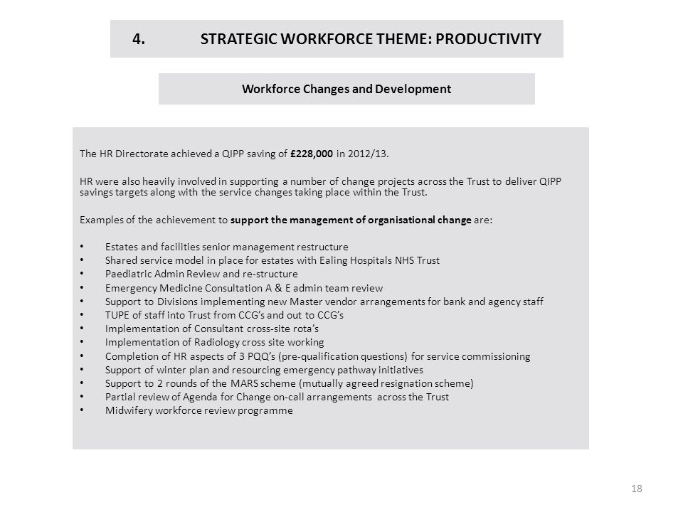 4. STRATEGIC WORKFORCE THEME: PRODUCTIVITY