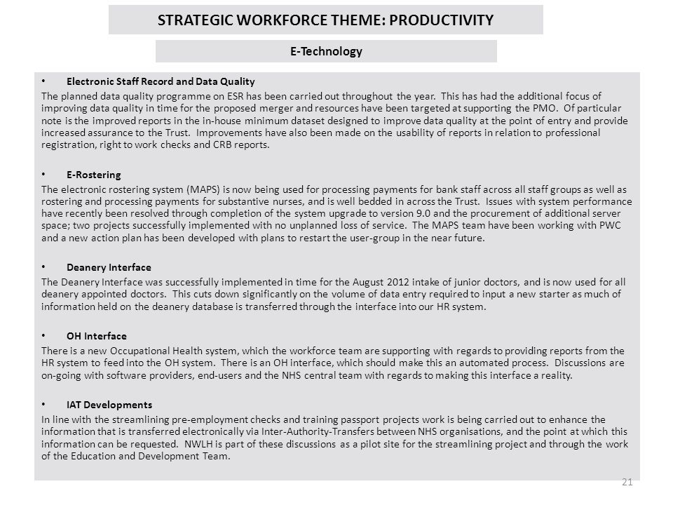 STRATEGIC WORKFORCE THEME: PRODUCTIVITY