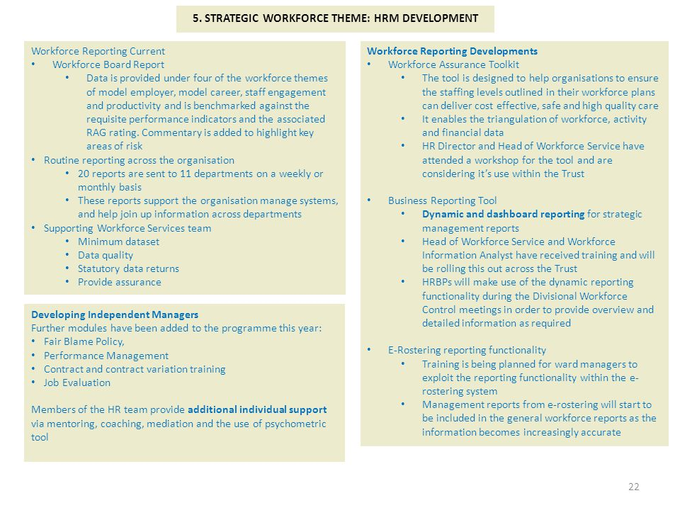 5. STRATEGIC WORKFORCE THEME: HRM DEVELOPMENT
