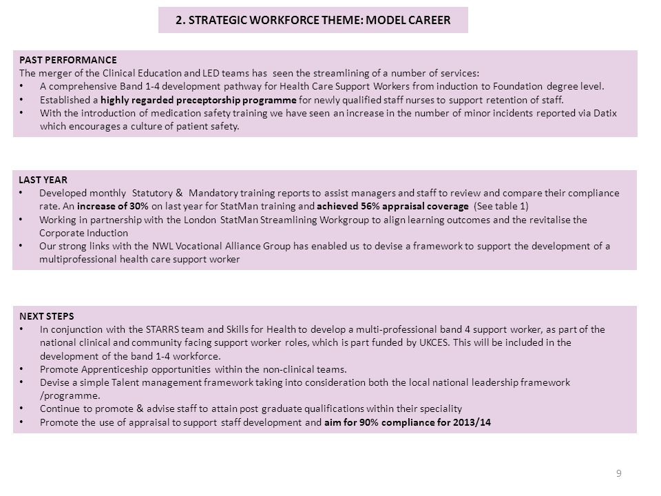 2. STRATEGIC WORKFORCE THEME: MODEL CAREER