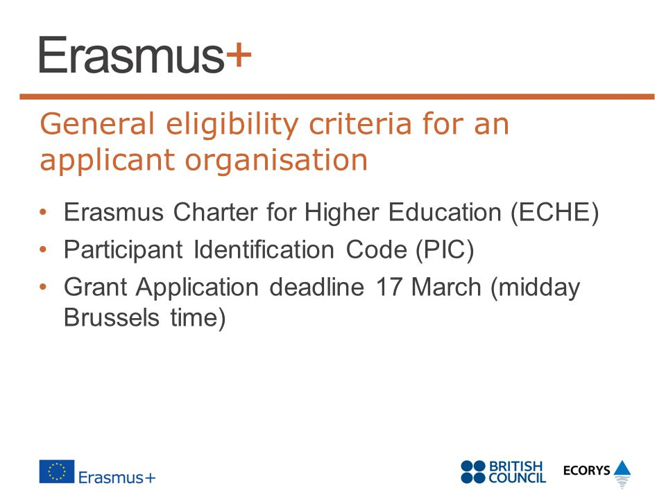 General eligibility criteria for an applicant organisation