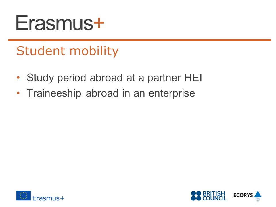 Student mobility Study period abroad at a partner HEI
