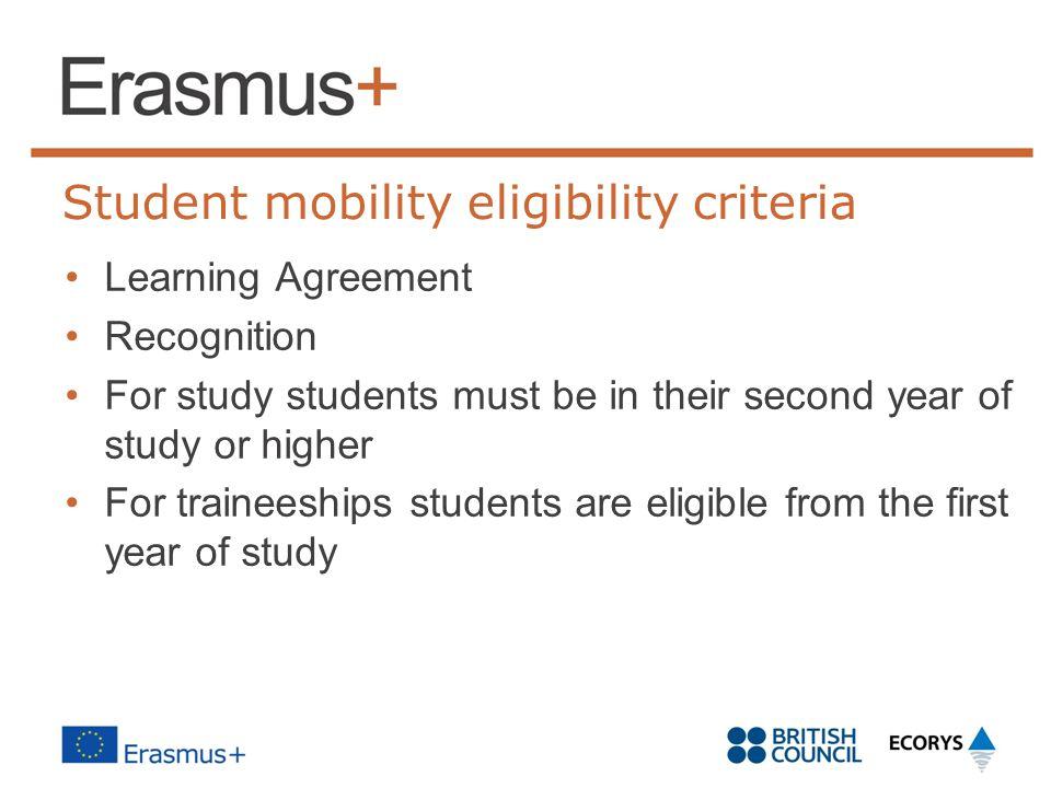 Student mobility eligibility criteria