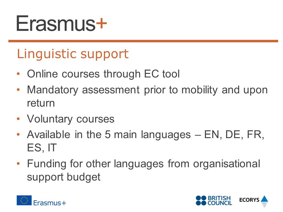 Linguistic support Online courses through EC tool