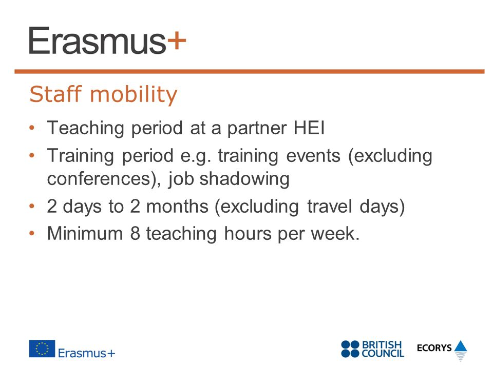 Staff mobility Teaching period at a partner HEI