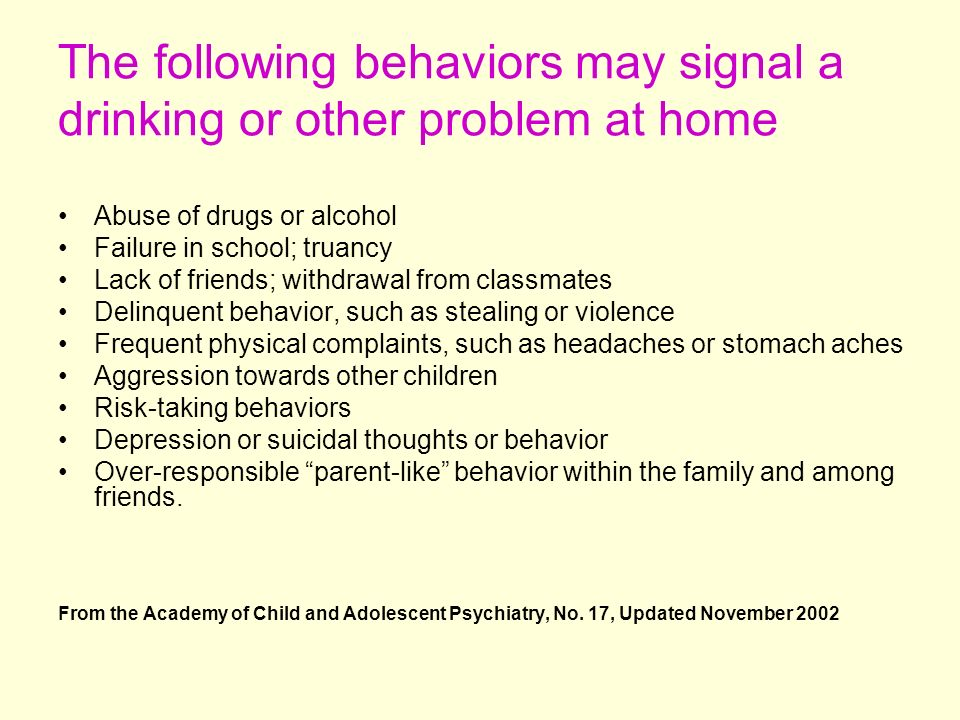 The following behaviors may signal a drinking or other problem at home