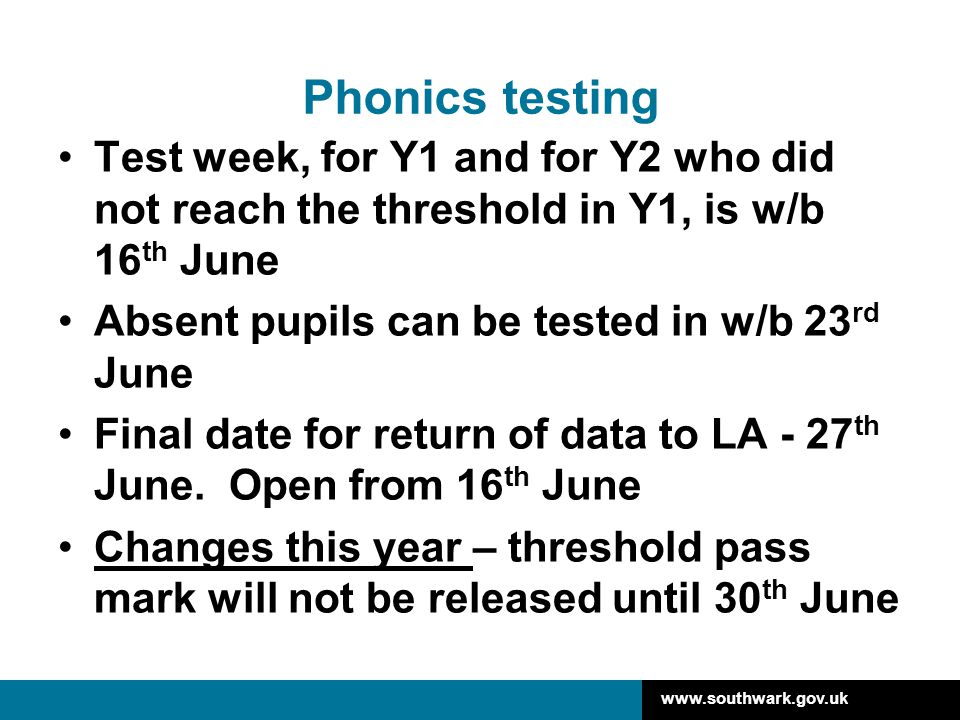 Phonics testing Test week, for Y1 and for Y2 who did not reach the threshold in Y1, is w/b 16th June.