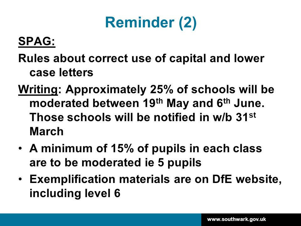 Reminder (2) SPAG: Rules about correct use of capital and lower case letters.