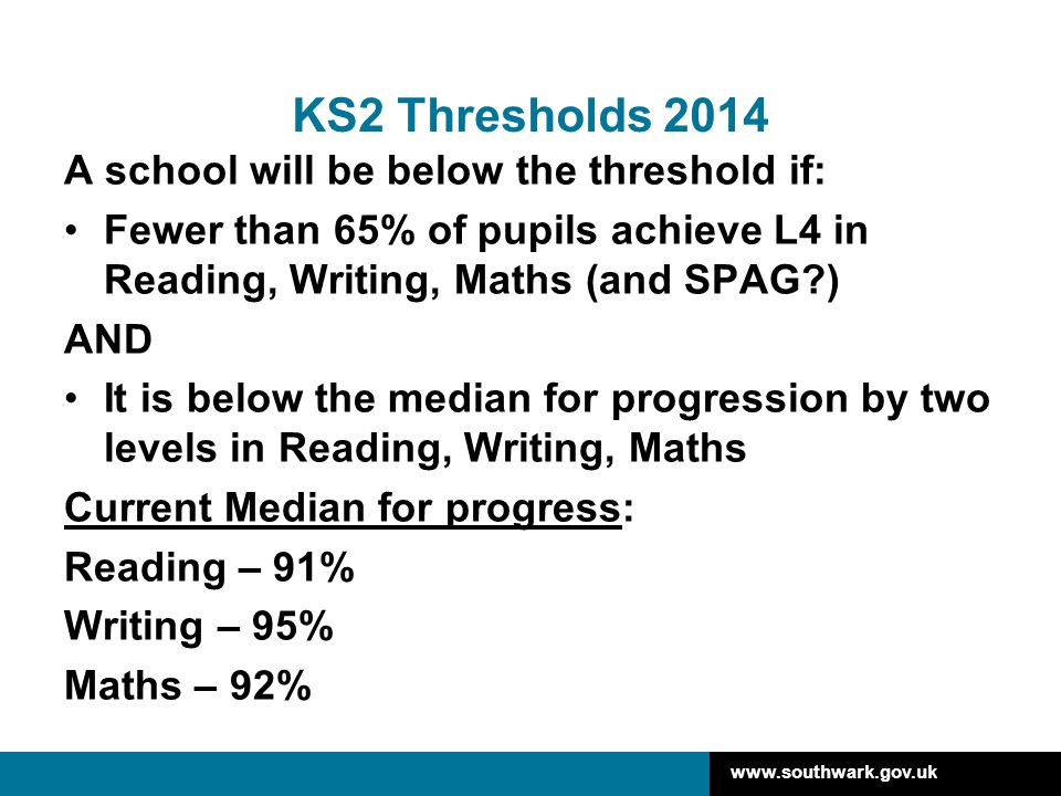 KS2 Thresholds 2014 A school will be below the threshold if: