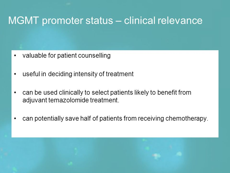 MGMT promoter status – clinical relevance