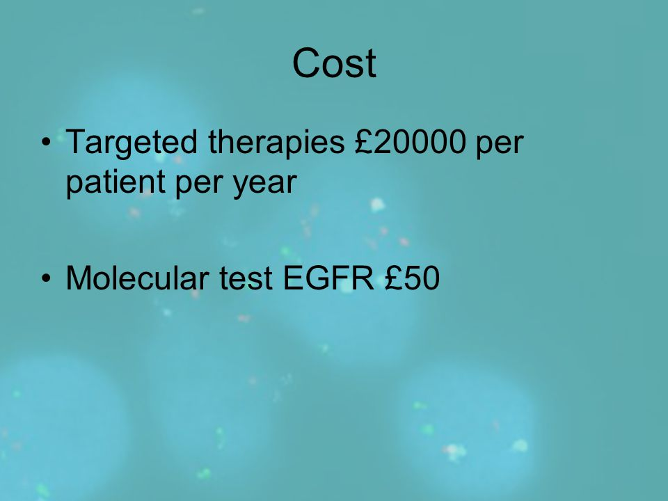 Cost Targeted therapies £20000 per patient per year