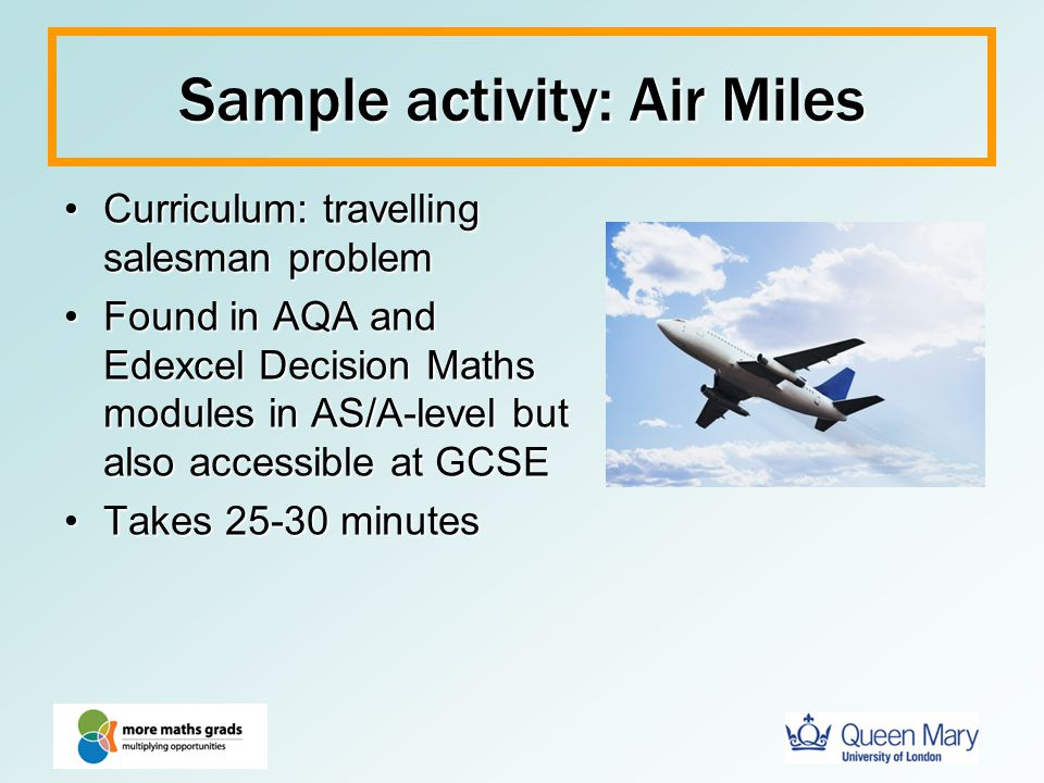 Sample activity: Air Miles