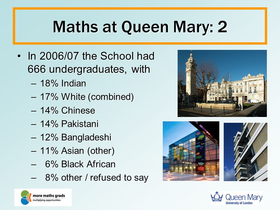 Maths at Queen Mary: 2 In 2006/07 the School had 666 undergraduates, with. 18% Indian. 17% White (combined)