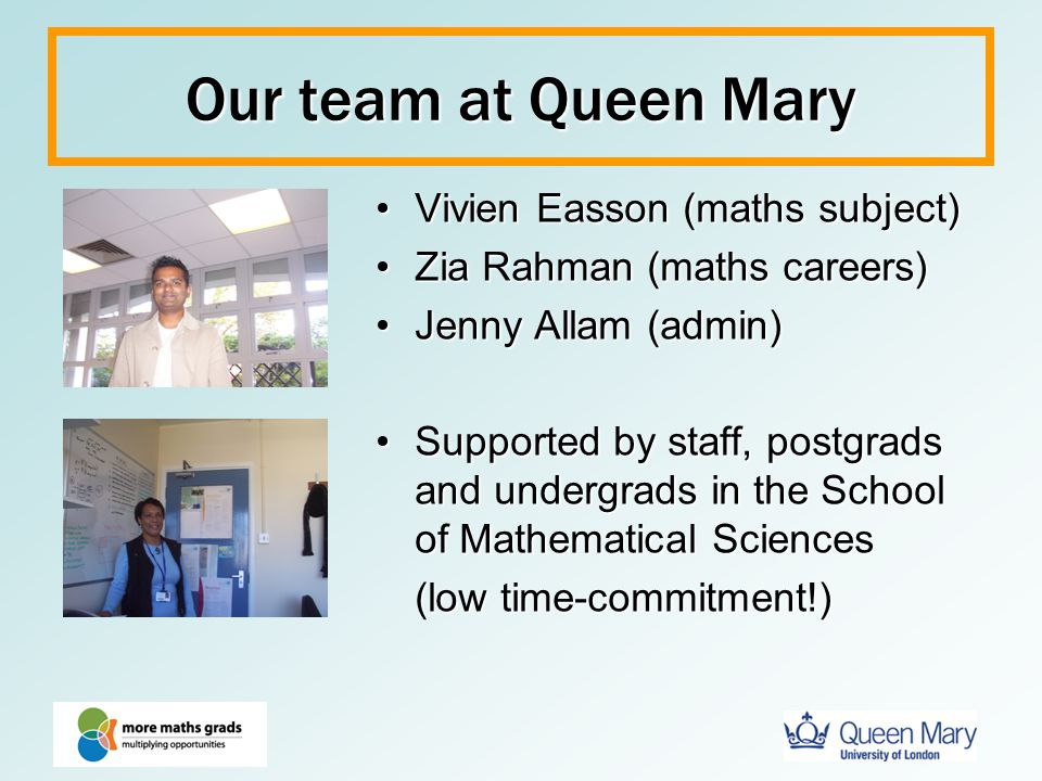 Our team at Queen Mary Vivien Easson (maths subject)
