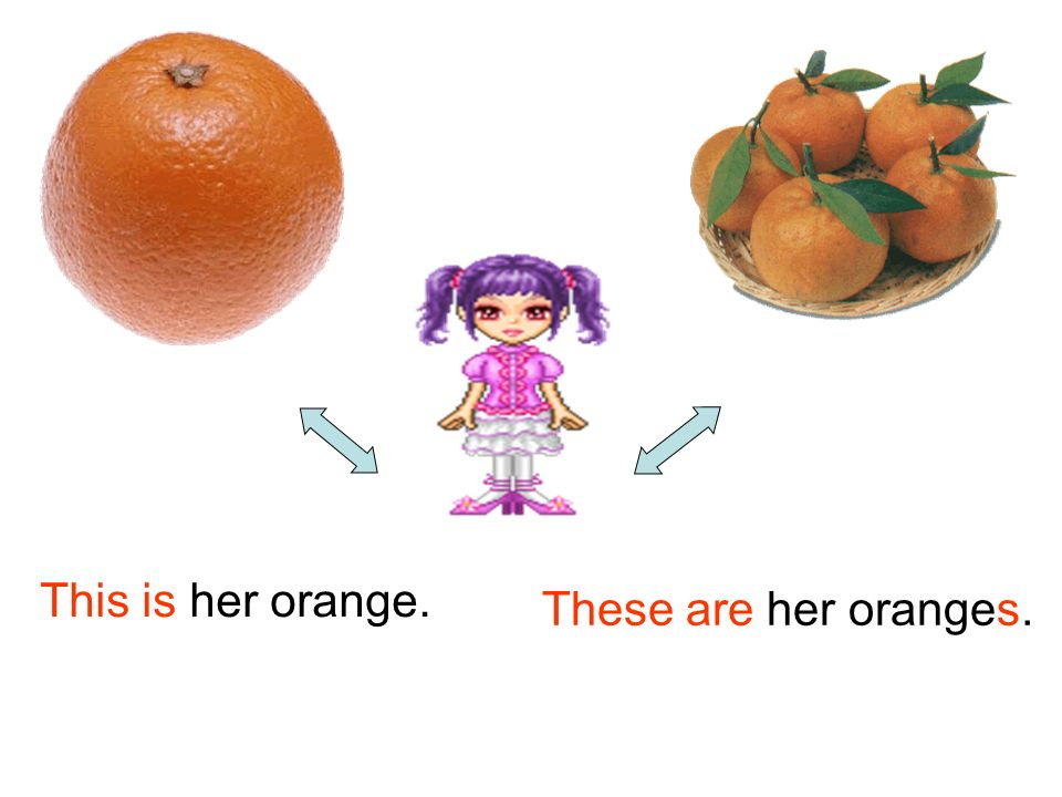This is her orange. These are her oranges.