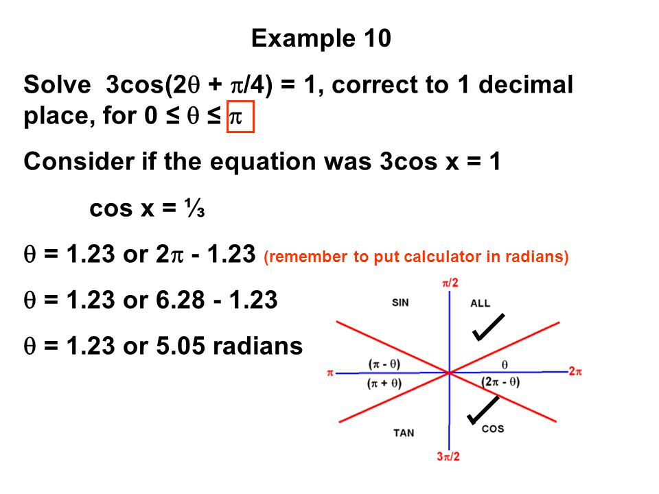 Solve 3cos(2 + /4) = 1, correct to 1 decimal place, for 0 ≤  ≤ 