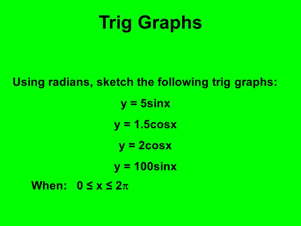 Trig Graphs Using radians, sketch the following trig graphs: y = 5sinx