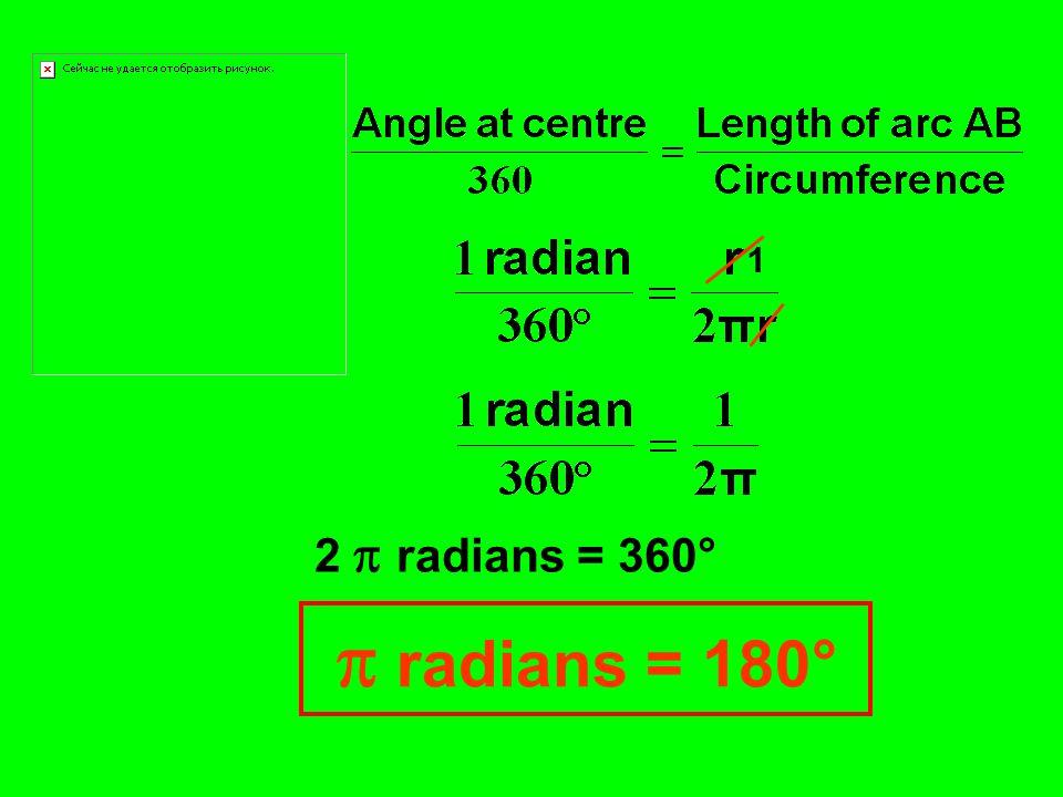 1 2  radians = 360°  radians = 180°