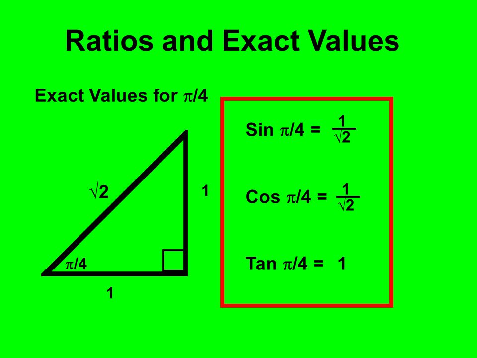 Ratios and Exact Values